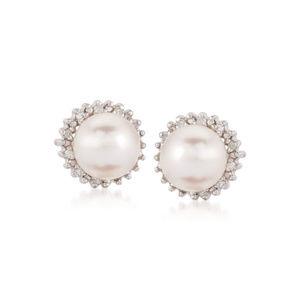 Pearl & Genuine Diamond Sterling SIlver Earings